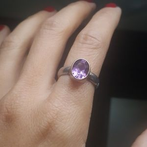 Jewelry - Amethyst sterling silver ring size 7.5 with gold